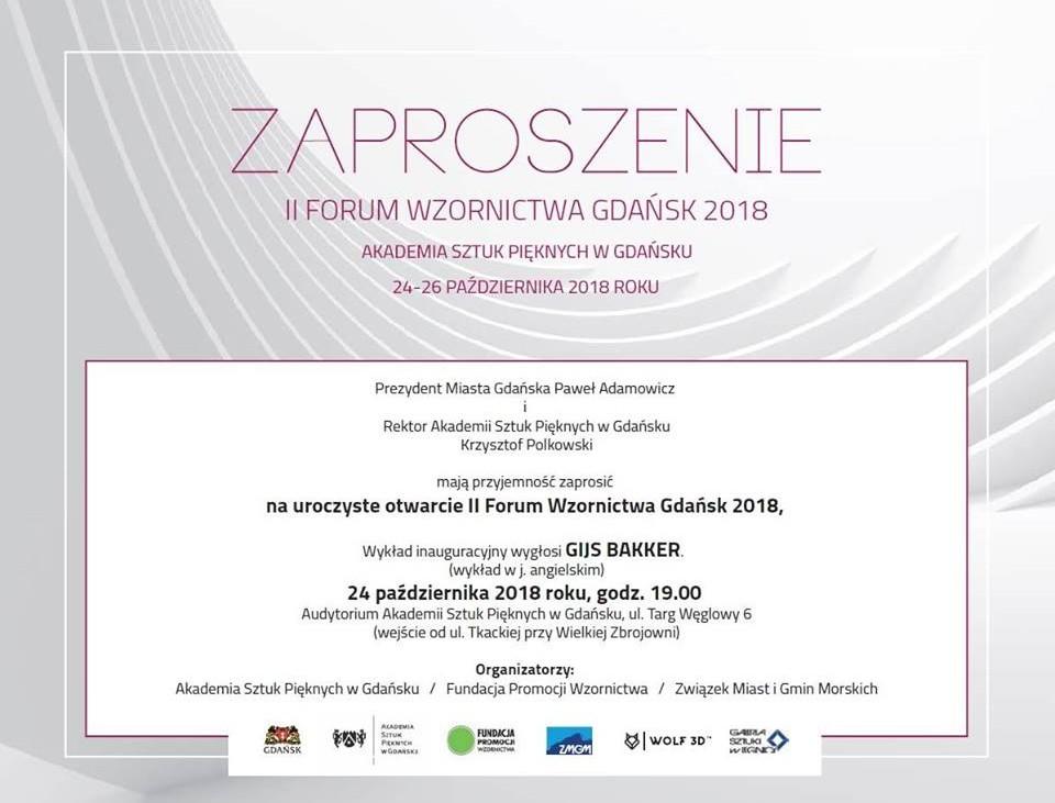 Zaproszenie na II Forum Wzornictwa Gdańsk 2018